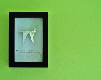 "Blade Runner Origami Unicorn and Hand Typed Quote in a 4x6"" (10x15cm) Frame"