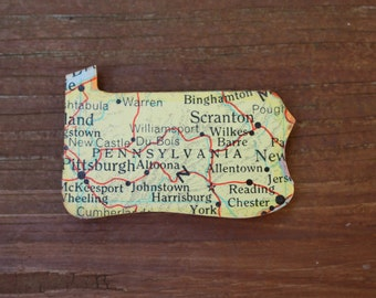 Pennsylvania State Magnet Vintage Puzzle Piece Rand McNally Map
