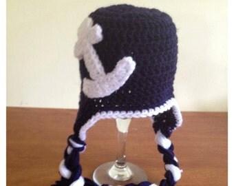 Navy & White Anchor Hat
