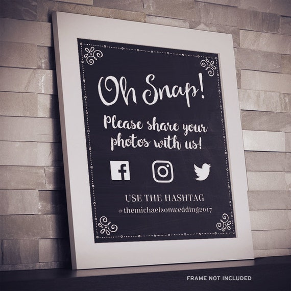 Printable Chalkboard Social Media Wedding Or Event Hashtag - Custom vinyl decal application instructions pdfapplication etsy