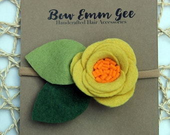 PIXIE Yellow felt flower headband || Felt Flowers || Nylon headband || One size fits all (baby - adult) || bowemmgee