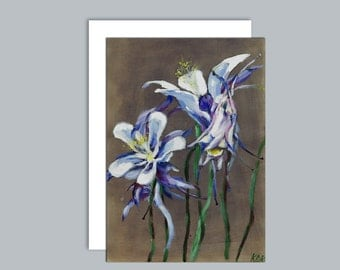Aquilegia flowers A6 greeting card