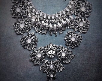 Chandini Nargis Statement Necklace - Handcrafted: Silver layered stacked ethnic bohemian gypsy indian bollywood  necklace