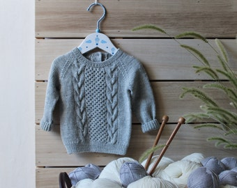 Knit Baby Sweater / baby boy sweater / baby girl sweater / grey baby sweater / knitted kids sweater
