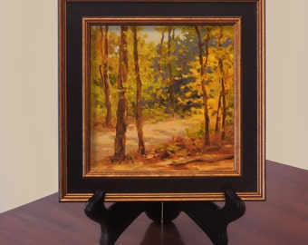 Small Oil Painting Landscape Original, Plein Air, Woods, Trees, Patuxent, Fall, Autumn, 6x6, Framed, Gift, Free Shipping