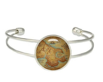 Neverland Map Cuff Bangle Neverland Map Bracelet Peter Pan Jewelry Fangirl Fanboy