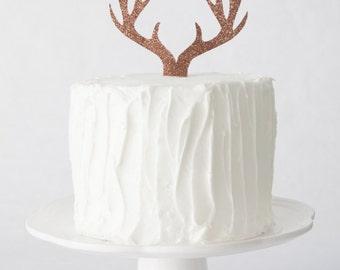 Antler Cake Topper, Deer Antler Cake Topper, Woodland Themed Cake Topper, Baby Shower Cake Topper