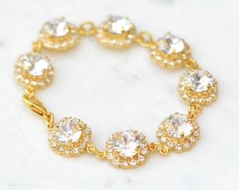 Bridal Bracelet Gold Diamond Halo Wedding Cake Bracelet Swarovski Crystal White Diamond Rhinestone Bridal Bracelet Bride Wedding Jewelry