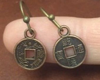 Chinese Coin Earrings - Antique Bronze