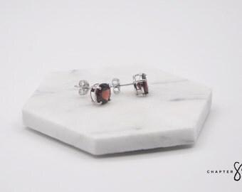 Garnet Circle | Garnet Earrings | Garnet Stud Earrings | Red Stud Earrings | Red Stone Earrings | Sterling Silver Earrings