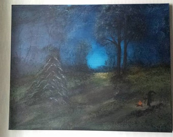 Moonlight Witch Painting, OOAK Witch Art, Moonlight Painting, Original Artwork, Original Painting, 16 x 20 Painting, Witch Art, Pagan, Witch