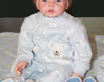 Reborn Baby Boy doll Blond Hair Blue Eyes 22 inch Vinyl Doll