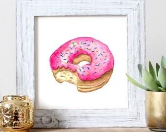 Donut Watercolor Print | Donut Art | Donut Painting | Kids Decor | Donut Artwork | Donut Watercolor | Sprinkle Donut | Food Art | Desert Art