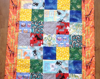 Baby Play Quilt with Multiple Interest Squares and Giraffe Backing