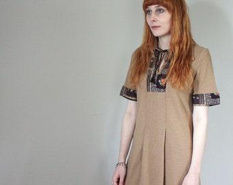 SALE Vintage Dorothy Perkins Brown Floral Patchwork Midi Shirt Dress - Small