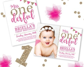 Onederful Birthday Invitation, Miss Onederful Birthday Theme, 1st Birthday Invitations, First Birthday Invitation, Printable Birthday Invita