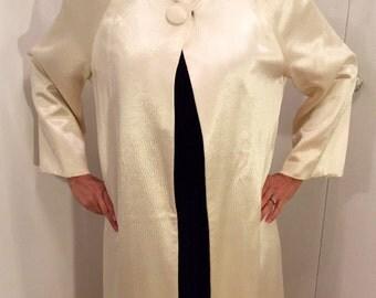Vintage Long Cape Coat, satin Glamorous Hollywood Style 1950's