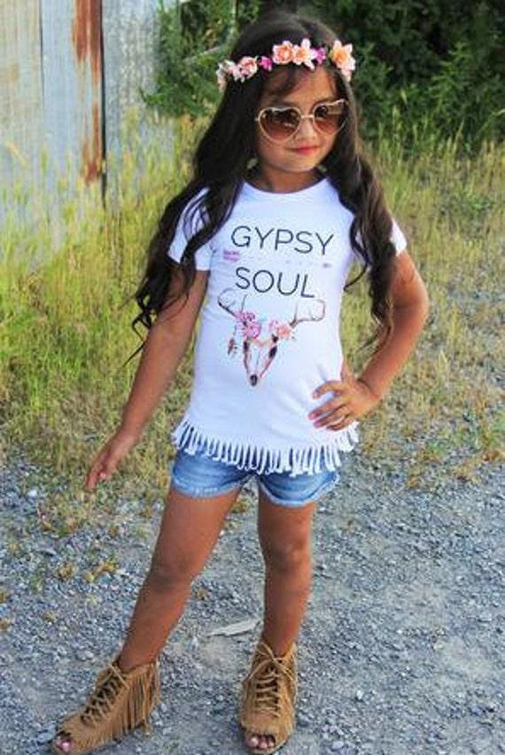 Kids Gypsy Soul Fringe T shirt by JAXandCoBoutique on Etsy