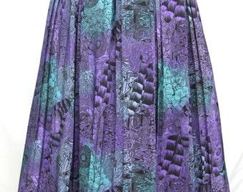 Vintage 1980's Purple Print Pleated Skirt