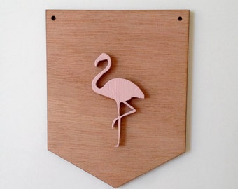 Flamingo Pink wooden flag