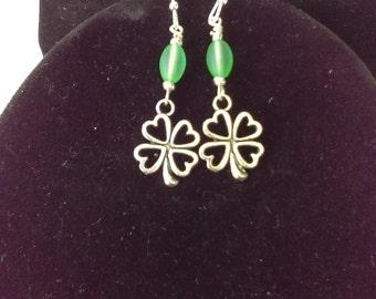 Lucky shamrock four leaf clover earrings