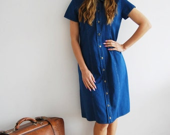 Vintage 90s Denim Blue Shirt Dress - UK 12/14