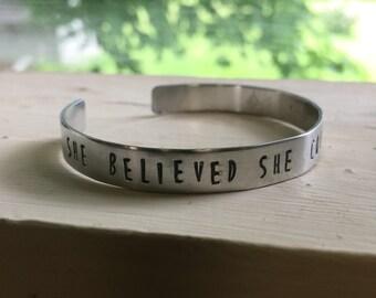Feminist Bracelet - Silver - Feminist - She believed she could so she did