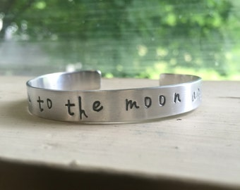 I Love You to the Moon and Back Bracelet - Silver - I Love You to the Moon and Back - Quote Bracelet