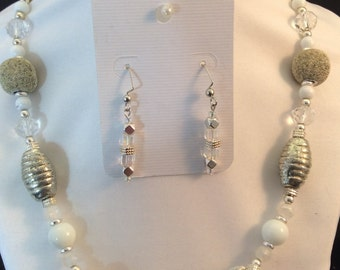 Necklace and earrings - white shades