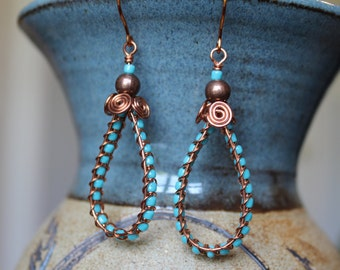 Hand Woven Copper With Turquoise Earrings