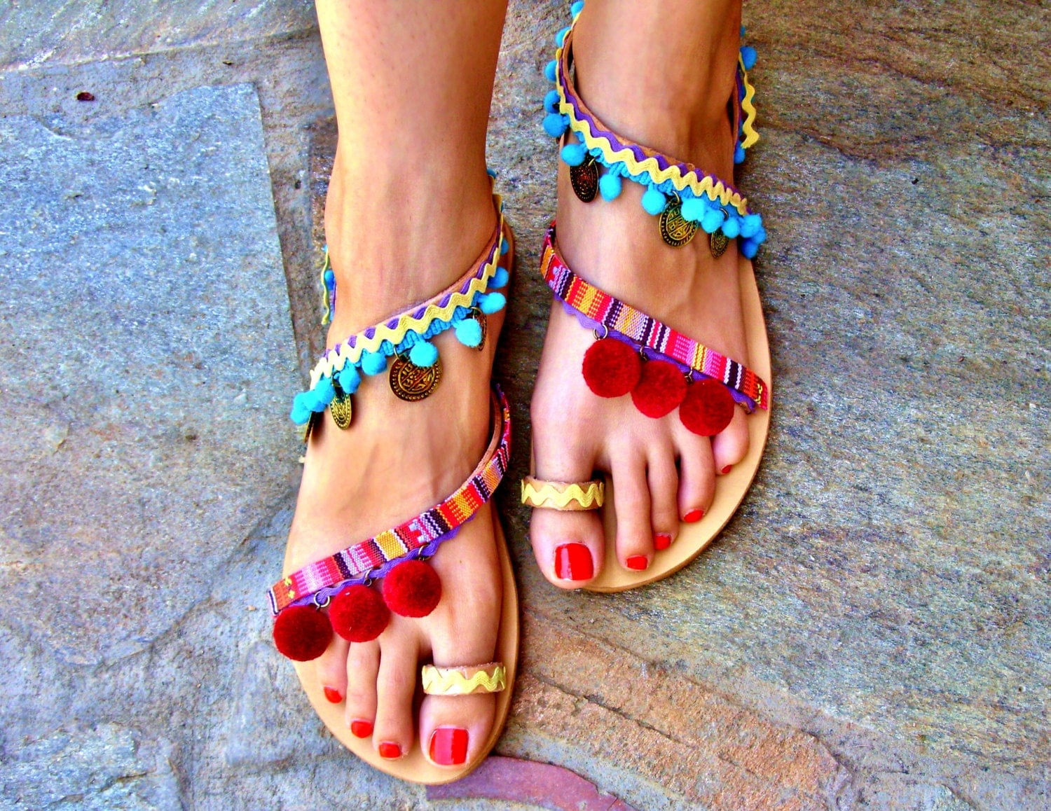 Womens sandals etsy - 40 Off Colorful Sandals Pom Pom Sandals Bohemian Strappy Sandals Greek Leather
