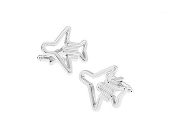 Airplane Silver Tone CuffLinks, Best Gift For Dad - Groomsmen Cufflinks - Groomsmen Gifts - Gifts for Him -  Jewelry For Men