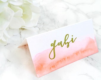 Dipped Water Color Place Cards (Folded)