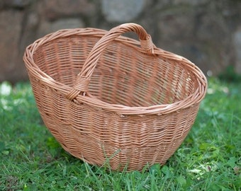 Wicker Shopping Basket - Handmade - Naturally Woven, Gift or Farmer's Market Basket, Willow Style for Storage and Picnic, Fall