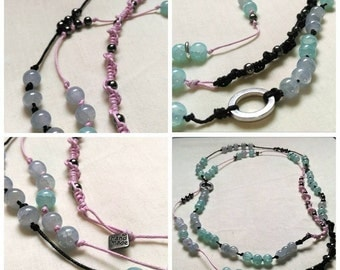Long, blue and pink, handcraft necklace