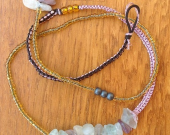 Colorful wrap bracelet or necklace with fluorite and hematite, macrame bracelet with beads and semiprecious stones