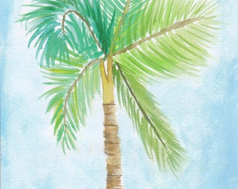5in x 7in Watercolor Palm Tree Print