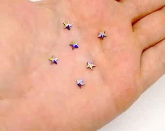 Star Flat Back, Swarovski Crystal  Hotfix Rhinestone, Crystal AB, 5mm, Faceted Rivoli Star, Crystal Clear, Foil Back,Loose Rhinestone,RC1855