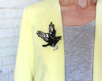 Brooch Raven - Laser Cut Raven - Acrylic Brooch Raven - Raven Charm - Raven Jewelry - Plexiglas - Handmade - Barnaul