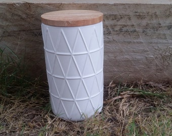 Large White Canister Candle with Wooden Lid