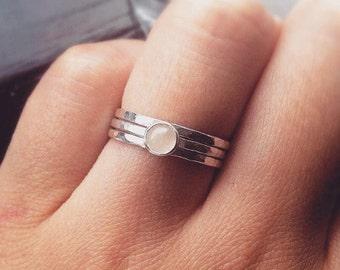 Silver Stacking Ring, Rose Quartz Ring, Pink Stone Ring, Rose Quartz,  Silver Ring, Hammered Silver Ring, Gemstone ring, Silver Jewellery UK