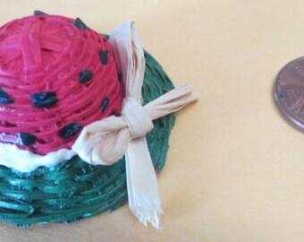 Dollhouse Miniature painted watermelon  hat