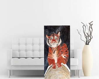 Original textured tiger art painting 48x24