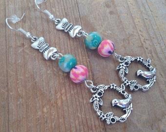 Bird earrings boho earrings bohemian jewelry gift for her Dangle drop earrings wedding gift gift under 50 hippie chic earrings