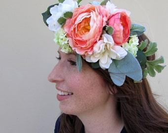 Coral/pink ranunculus floral crown