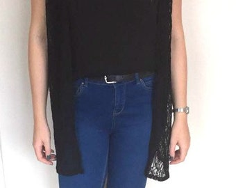 Black lace sleeveless gilet