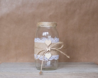 Rustic Butterfly Bow Jar - Large