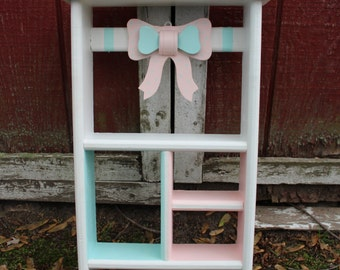 Pink and Blue Bow Shelf-Little Girl-County Chic-Wood Wall Decor-Small-Shadow Box-Nursery-Shelving Unit-Wall Haning-Home Decor-Polka Dots