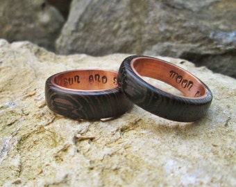 Copper and wenge wood rings wedding ring copper ring moon of my life my sun and stars rings engagement rings GOT rings geek gift geek ring
