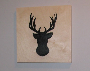 Representation deer wooden frame